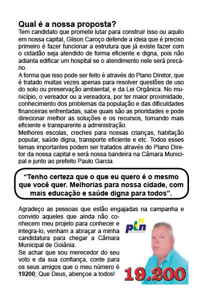 Vereador Gilson Caroço candidato do PTN 19200 Eleições 2012