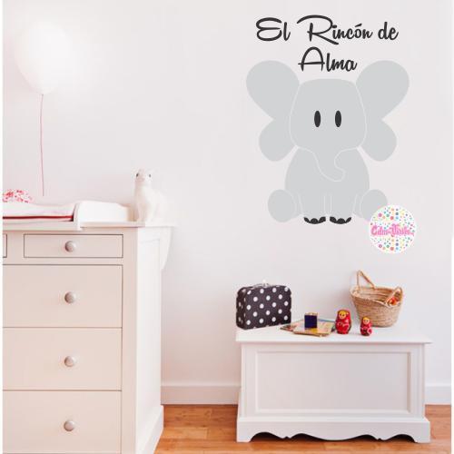 Vinilo Decorativo Infantil Elefante Con Frase Y Nombre