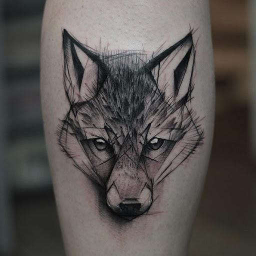 Este esboço estilo lobo tatuagem