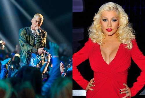 """Eminem Gets Dragged & Bodied By Christina Aguilera Fans For """"Kick Off"""" Diss"""