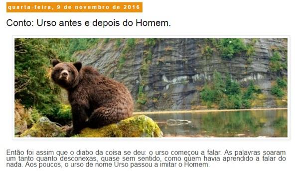 """Resenha: conto """"Urso antes e depois do Homem"""", Roberto Camilotti"""