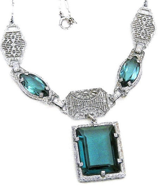 Dark Aquamarine Glass Edwardian Necklace. Via Diamonds in the Library.