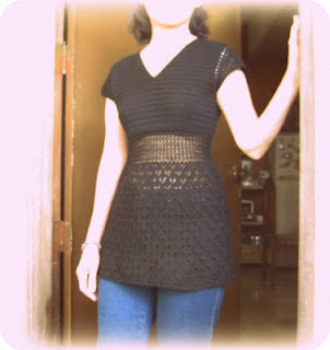 crochet black tunic