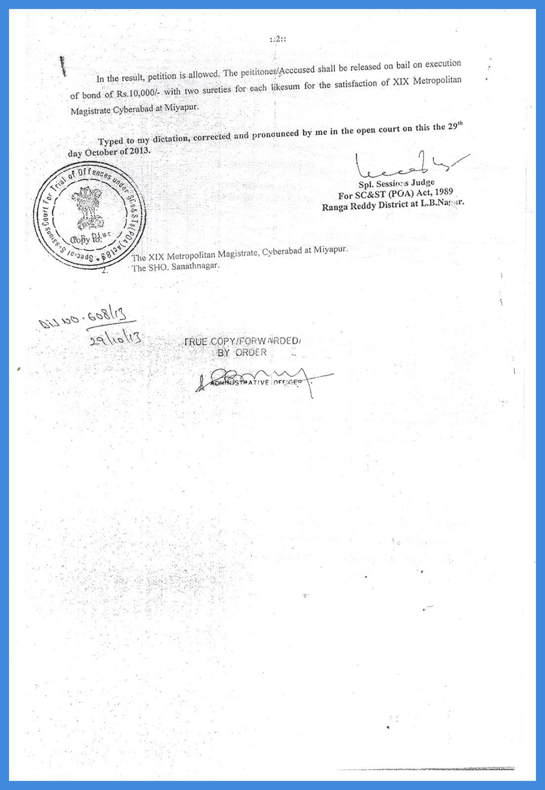 ORDER Grant Bail in Rangareddy Court
