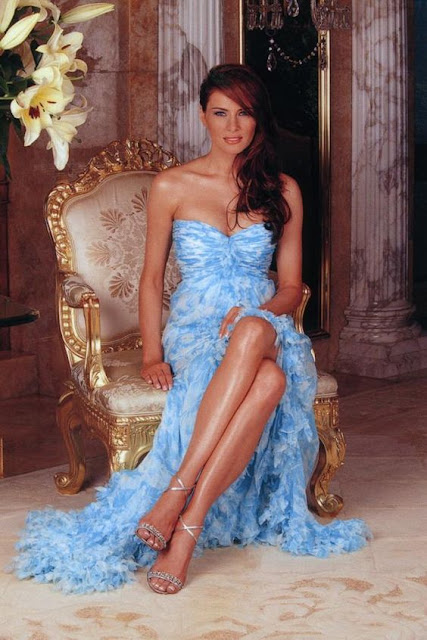Melania Trump, vestido azul