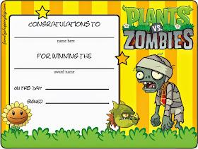 Invitaciones para Imprimir Gratis de Plantas vs Zombies.