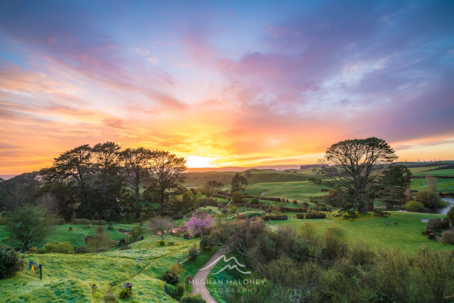 Colourful skies over Hobbiton, NZ