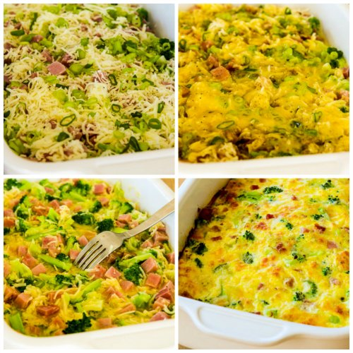 Broccoli, Ham, and Mozzarella Baked with Eggs [found on KalynsKitchen.com]