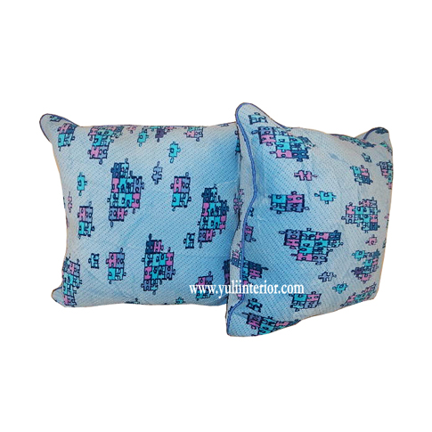 Kids Tetris Throw Pillow with Lipcord Finish and Fiber Filling