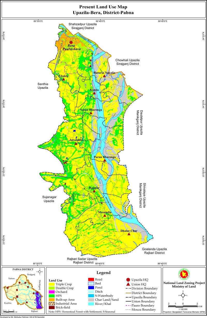 bera Upazila Mouza Map Pabna District Bangladesh