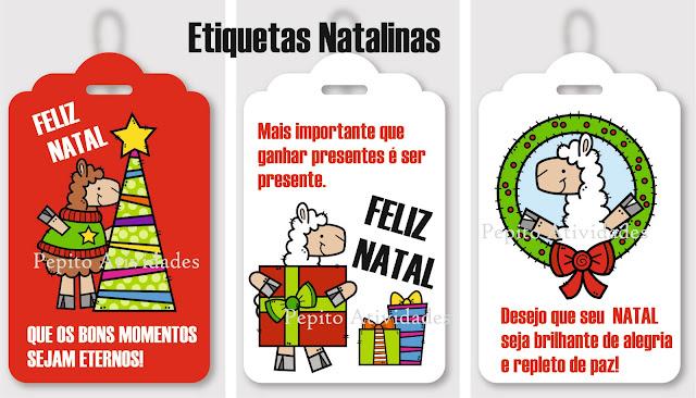 Etiquetas com frases natalinas para anexar às lembrancinhas de fim de ano