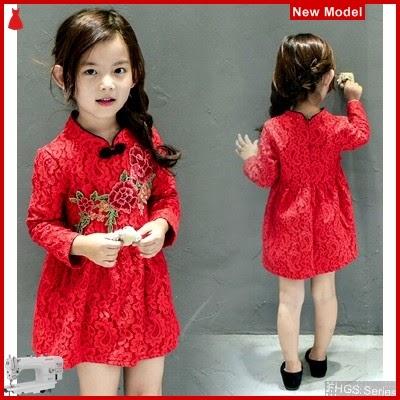 FHGS9191 Model Kidie Gown SL, Perempuan Dress Anak Spandex BMG