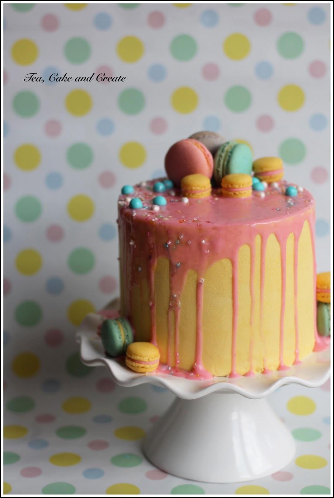 Tea Cake Amp Create Drip Cake With Macarons
