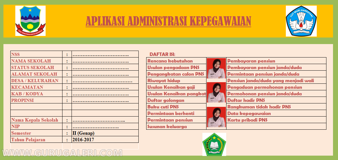 Aplikasi Administrasi Data Pegawai Guru Dan Kepala Sekolah Lengkap Guru Galeri