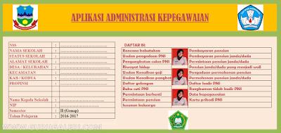Aplikasi Administrasi Data Pegawai, Guru dan Kepala Sekolah Format Excel