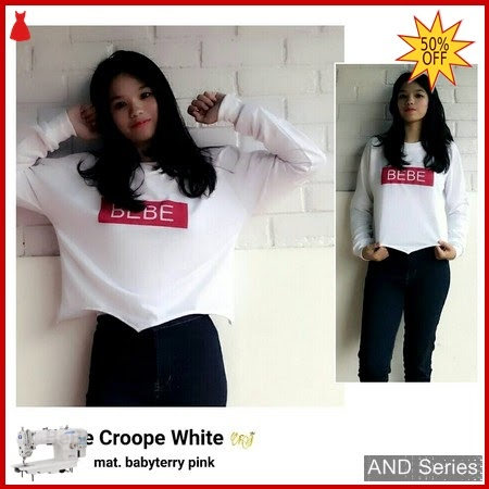 AND165 Sweater Wanita Bebe Crop Putih BMGShop