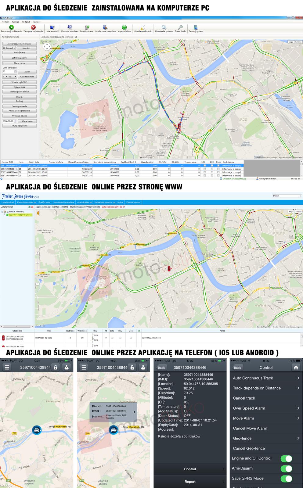 Widoki aplikacji do śledzenia trackerem GPS na różnych urządzeniach