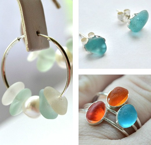 Simple Beach Sea Glass Ear Rings and Finger Rings