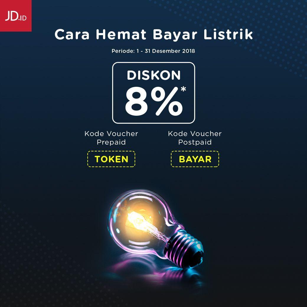 #JDID - Promo Voucher Diskon 8% PLN Prepaid & Postpaid (s.d 31 Des 2018)