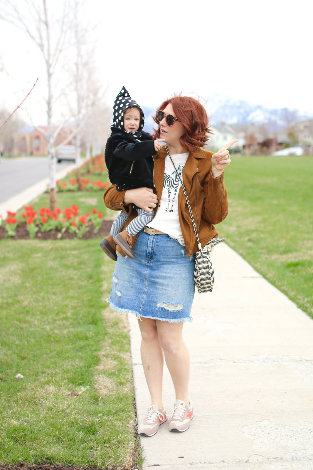 New Balance 574, Denim skirt, Mom style, circle straw bag, moto jacket, redhead bob
