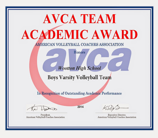 Wootton Boys Varsity Volleyball Team Earns AVCA Team Academic Award