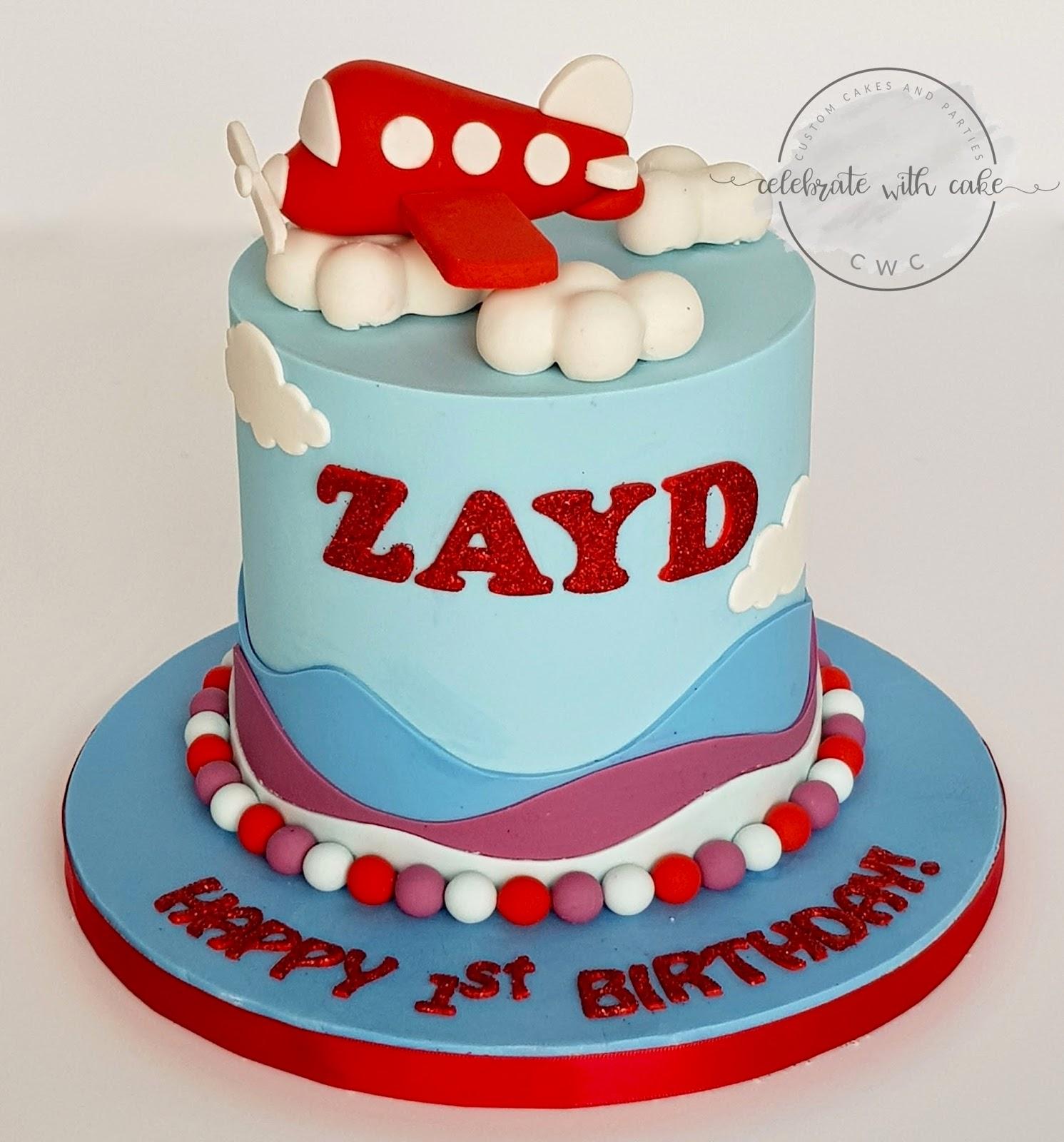 Cute Airplane 1st Birthday Cake