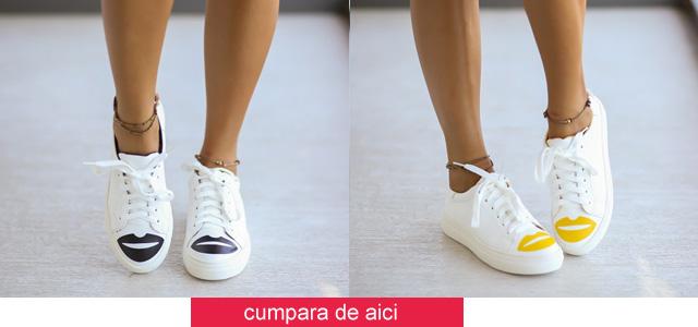 Adidasi femei ieftini de vara la moda albi cu imprimeu online