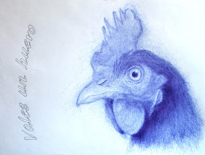 """dibujo"",""gallina"",""bolígrafo"",""boli"",""arte"",""ilustración"",""illustration"",""chicken"",""draw"",""pen"",""blue"",""otoño"",""Autum"",""art"",""contemporary"""""