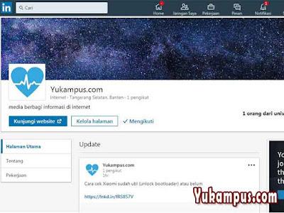 Halaman Perusahaan Yukampus di LinkedIn
