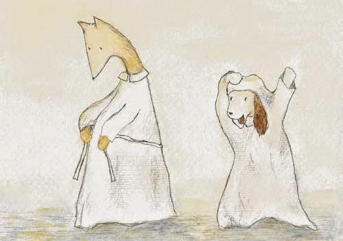 Postcard illustration of Hulmu Hukka and Haukku Spaniel trying albs before confirmation ceremony