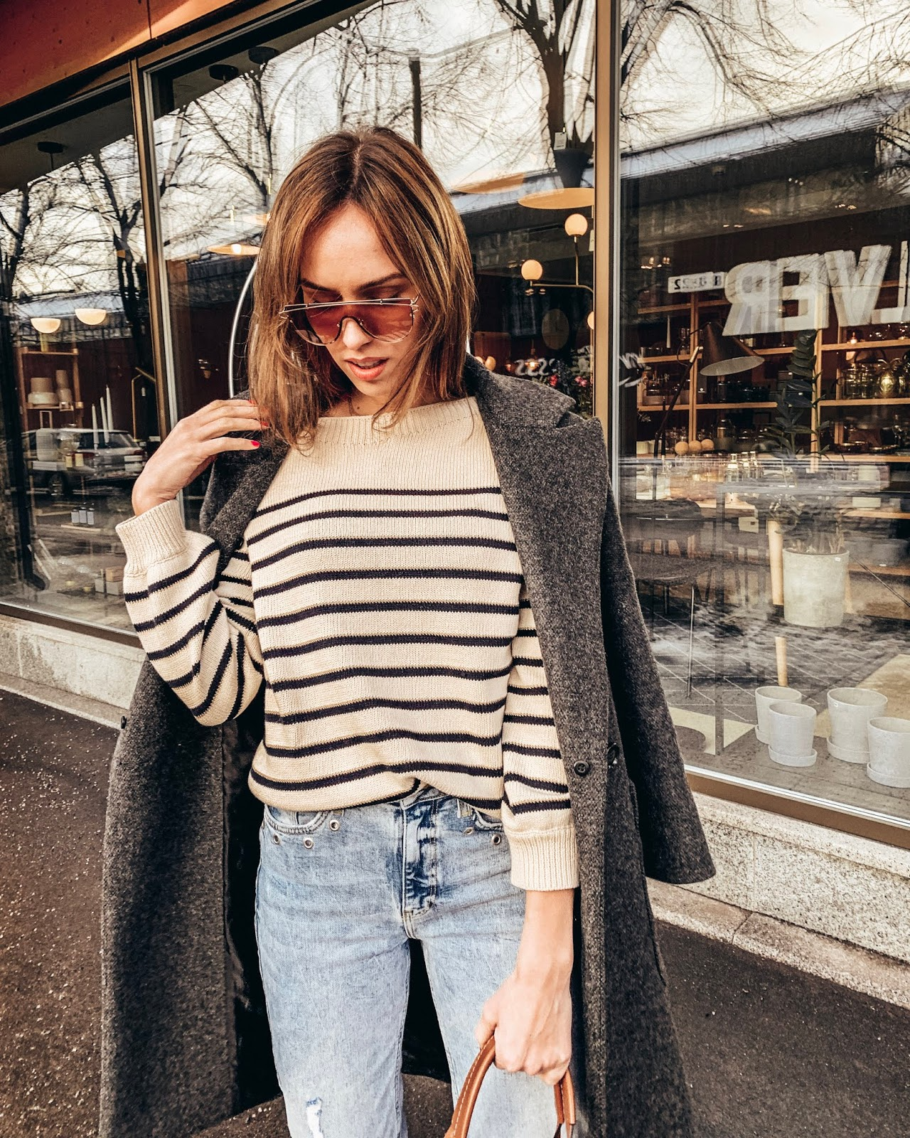grey oversized wool coat sezane striped jumper blue jeans burberry tote spring outfit