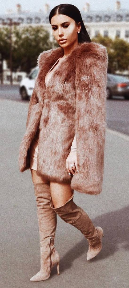 winter fashion trends / fur jacket + dress + over the knee boots