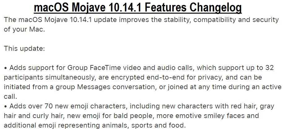 macOS Mojave 10.14.1 Final Features