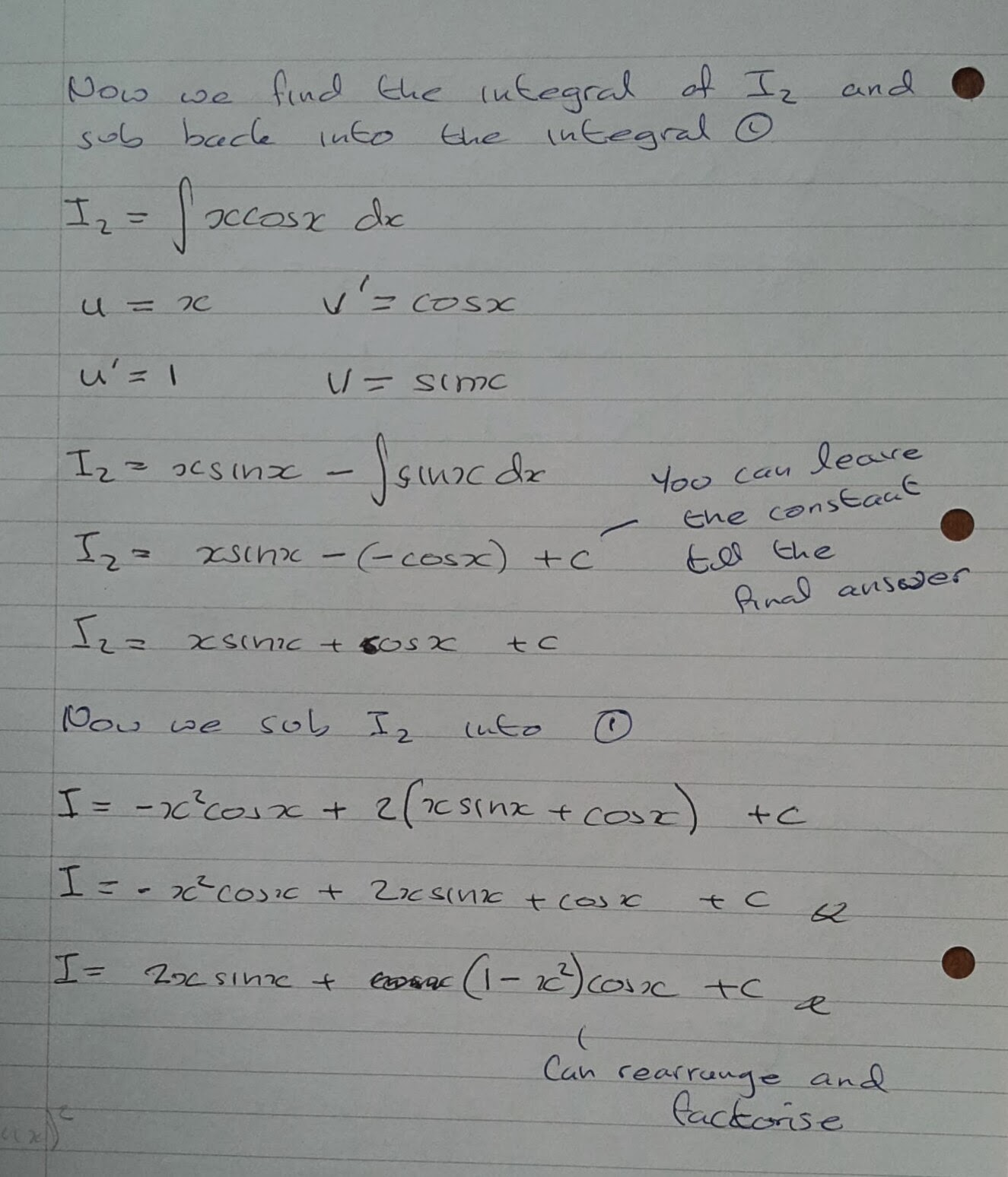 A Level Maths Notes: A2 Integration II: Integration by parts