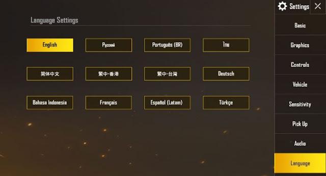 setting bahasa di PUBG Mobile