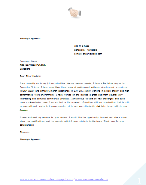 computer resume cover letter