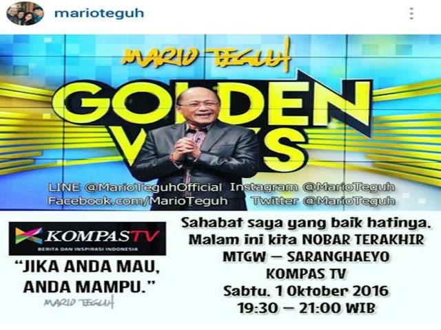 Mario Teguh Pamit, Malam Ini di Kompas TV Terakhir Hiasi Layar Kaca