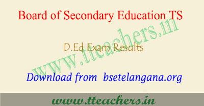 TS D.Ed 2nd year results 2018, Ded result Telangana