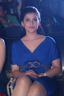 Mannara Chopra in Short Blue Dress at Rogue Movie Teaser Launch 1st March 2017 011.JPG