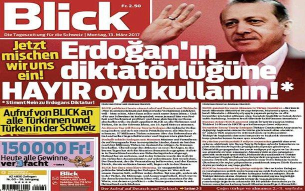 صحيفة سويسرية تكتب - مانشتها - بالتركية قولوا لا لدكتاتورية أردوغان