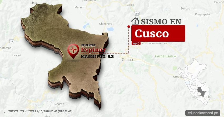 Temblor en Cusco de magnitud 5.2 (Hoy Jueves 4 Octubre 2018) Sismo EPICENTRO Espinar - Yauri - IGP - www.igp.gob.pe