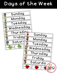 Apple Themed Days of the Week Strips