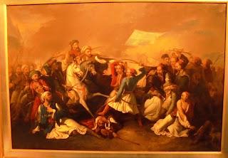 το έργο Ο Θάνατος του Μάρκου Μπότσαρη του Filippo Marsigli στο Μουσείο Μπενάκη