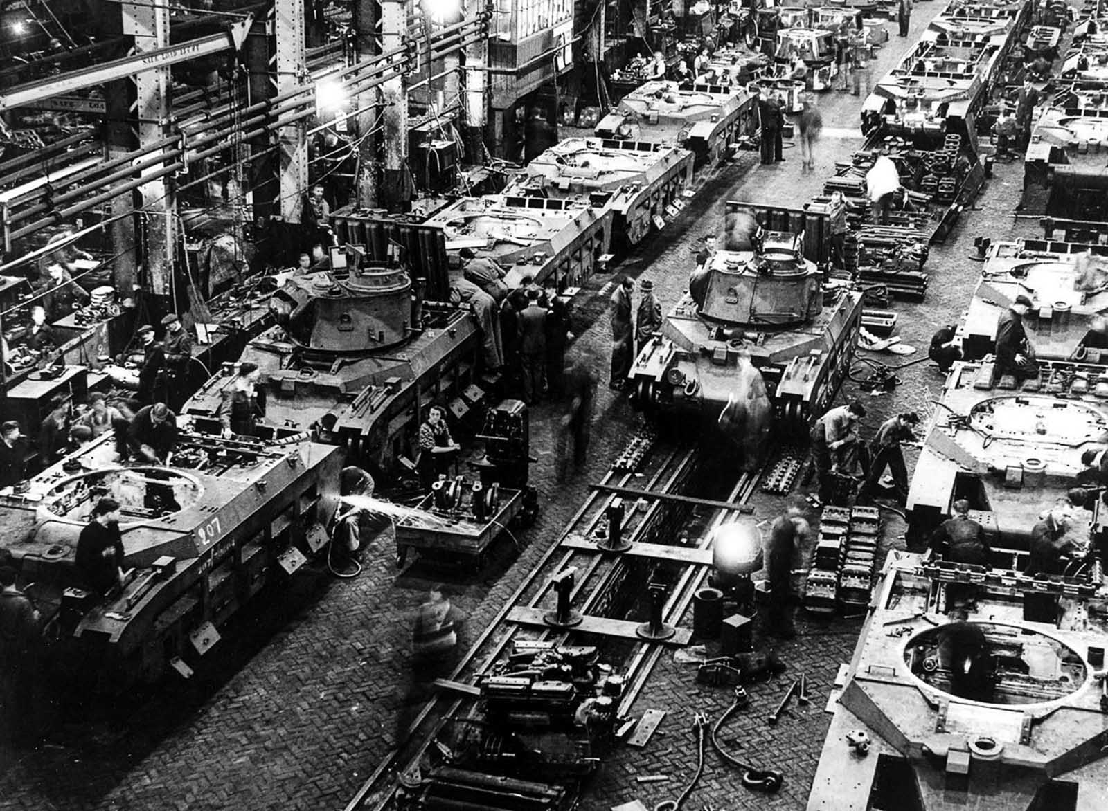 A tank assembly line is a flurry of activity during the