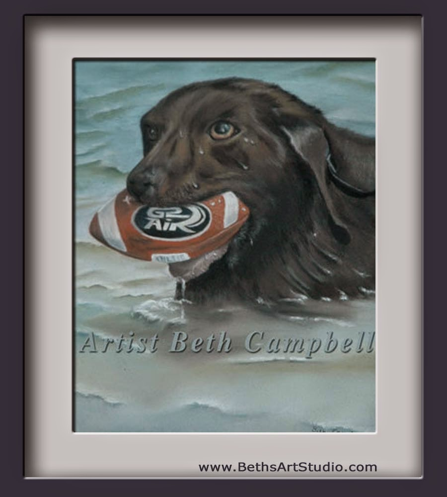 chocolate lab pastel painting swimming dog football lake diefenbaker