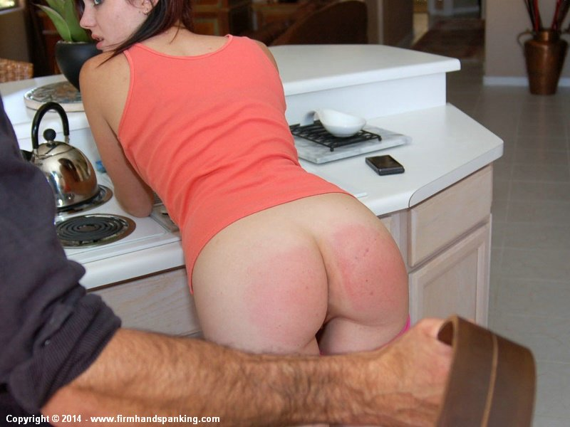 Spanked wife wet red finger