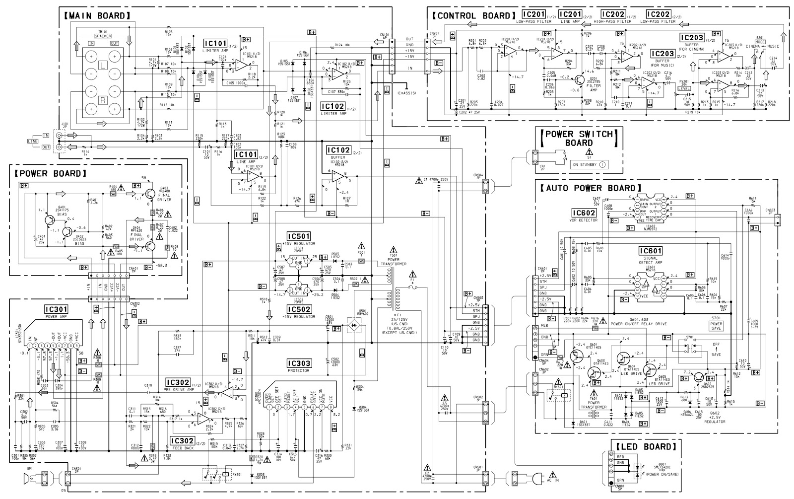 sony sa-ve502 - ve505 micro satellite system circuit diagram