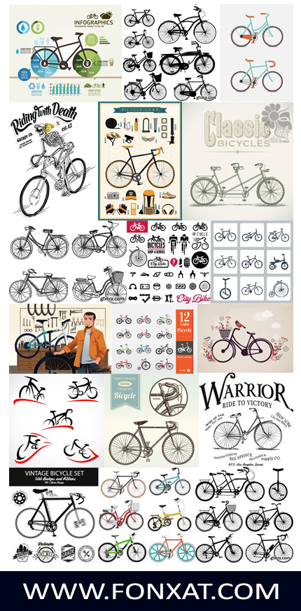 Download vector illustrations of bicycles, cycling and bicycle equipment