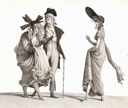 Gravure du XIXe siècle , Directoire  Merveilleuses et Incroyable