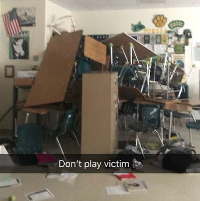 One student was shot after a gunman opened fire at Forest High School in Ocala, Florida. A student at the US school, Jake Mailhiot, took to social media to share photo of the makeshift barricade made by students and teachers to keep the shooter out of their classroom.